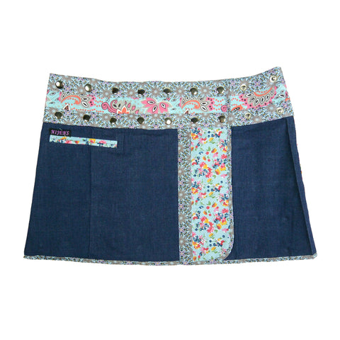 Nijens Jeans Mini Skirt A-line wrap skirt made of blue cotton