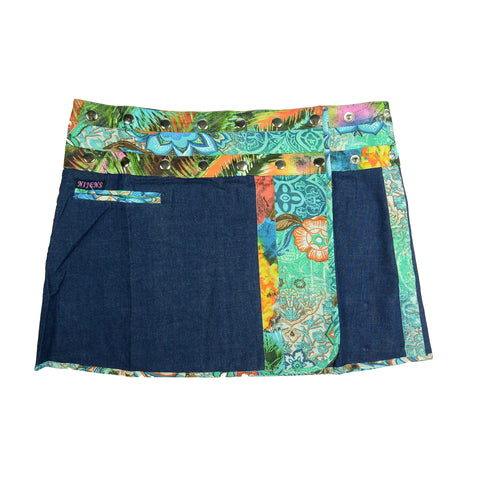 Nijens Jeans Mini Skirt blue-emerald in A-line made of cotton