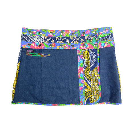 Nijens Jeans mini skirt made of cotton for women blue-multicolored