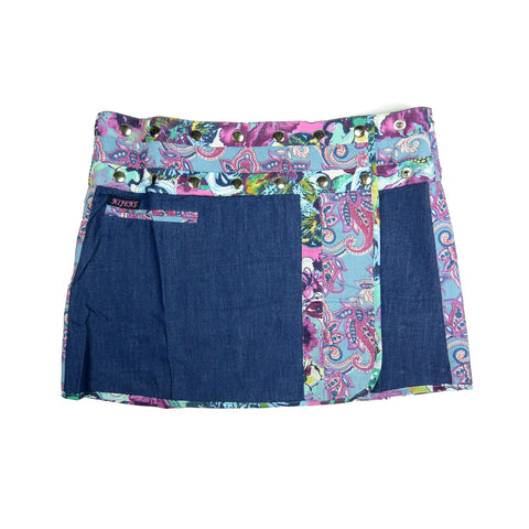 Nijens Jeans mini skirt made of cotton for women summer skirt blue-purple