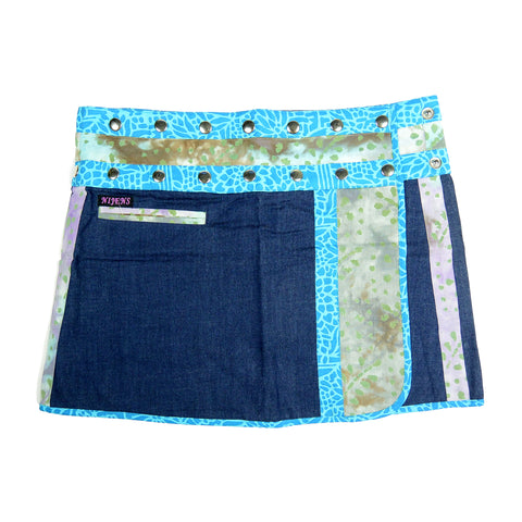 Denim skirt mini skirt wrap skirt in A-line made of cotton in blue