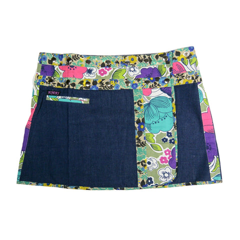 Nijens denim skirt mini skirt wrap skirt made of cotton with floral pattern blue