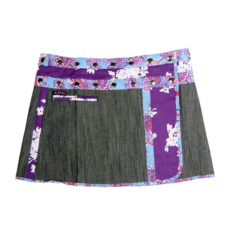 Nijens denim skirt mini skirt wrap skirt made of cotton gray-purple