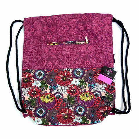 Nijens backpack cotton canvas flower pattern magenta