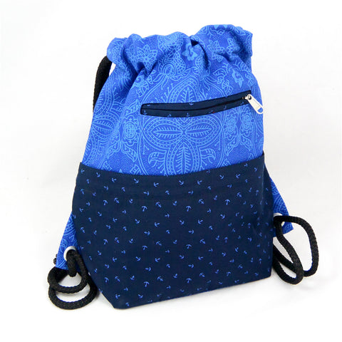 Nijens Ganga backpack canvas with anchors blue
