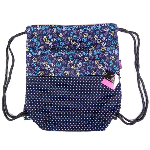 Backpack purple-blue with dog paws Gym bag made of canvas cotton bags