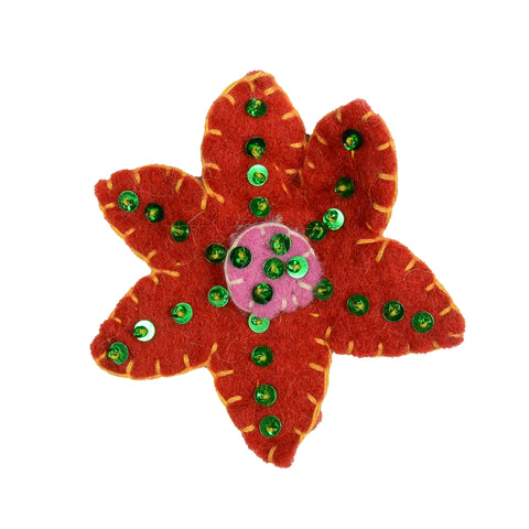 Nijens felt hair tie flower red-yellow