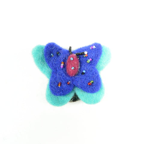 Handmade hair tie butterfly turquoise blue