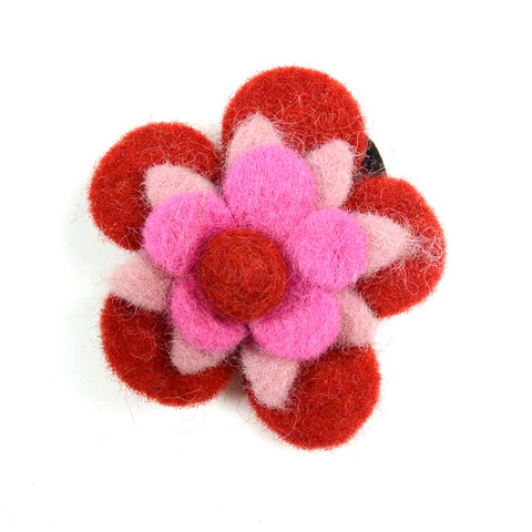 Handmade hair tie, felt hair tie flower red-pink