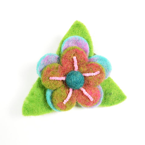 Nijens handmade hair tie with felted flower green