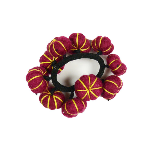 Nijens handmade felt hair ties from wool pompons red-yellow