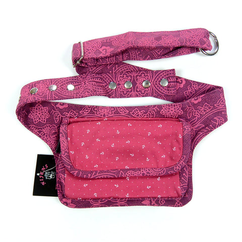 Anchor print bum bag magenta