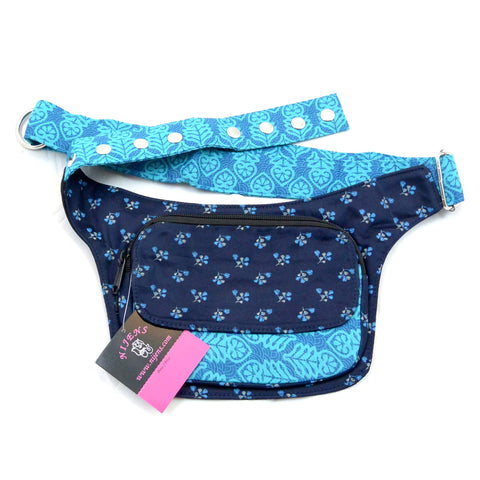 Cotton hip bag Berlin blue with floral pattern
