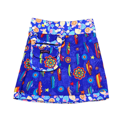 Children's skirt reversible blue picture