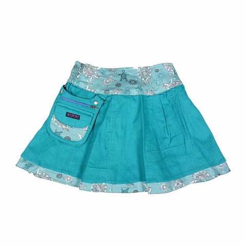 Nijens reversible skirt mini pavlana children's skirt made of corduroy / cotton turtles turquoise