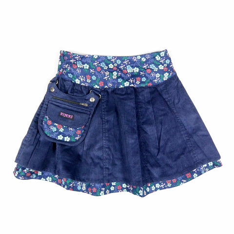 Nijens Beautiful reversible skirt Mini Pavlana made of corduroy / cotton dark blue with a floral pattern