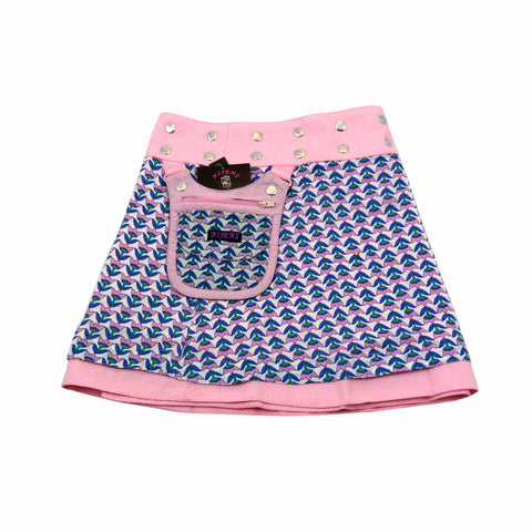 Reversible skirt for girls with a pink tulip pattern