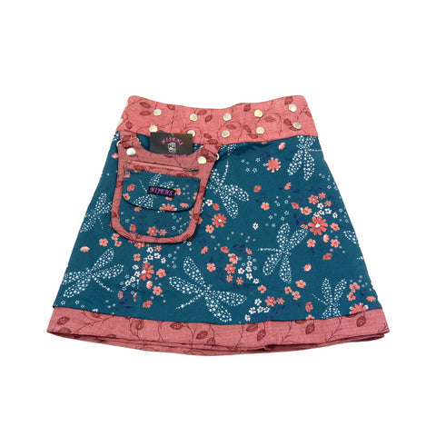 Nijens children's skirt reversible skirt wrap skirt summer skirt dragonfly dusky pink color