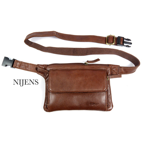Nijens Pouch Bag Leather Money Bag waist Bag Cognac