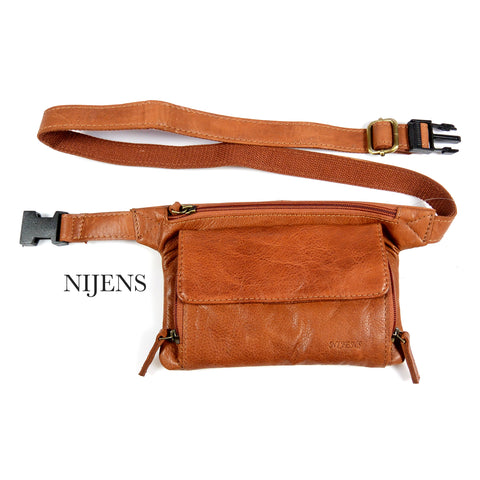 Leather Pouch Belt Bag Waist Bag Side bag leather Cognac Nijens