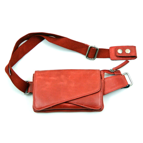 Nijens leather bum bag in red
