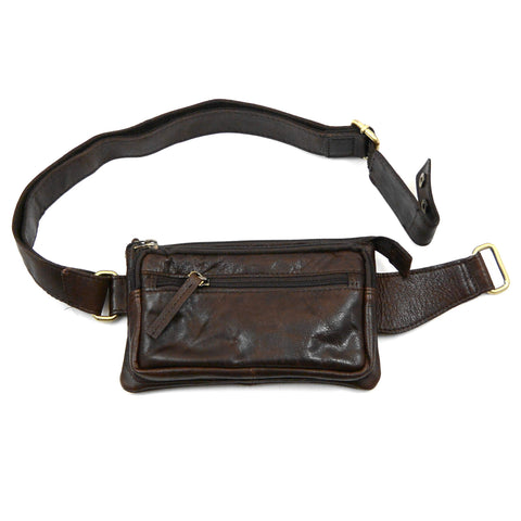 Leather bum bag NijensNJ-09 dark brown