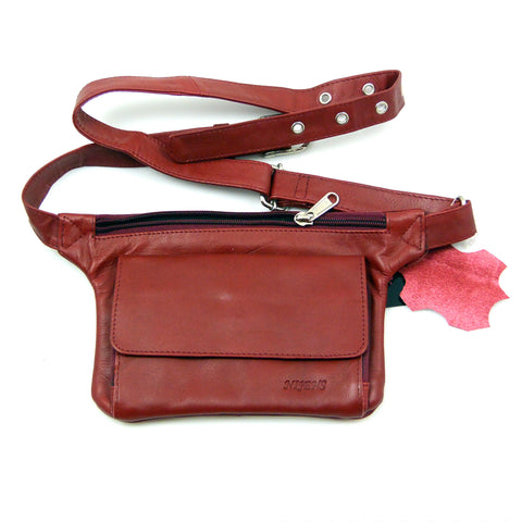 Waist bag Side bag Leather Red Gürteltasche Leder Rot Nijens