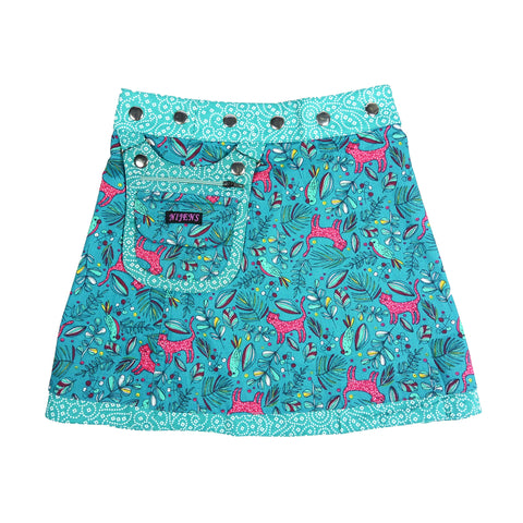 Nijens children's skirt beautiful turquoise-blue cotton skirt for girls