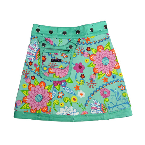 Nijens children's skirt beautiful cotton skirt emerald pink floral pattern