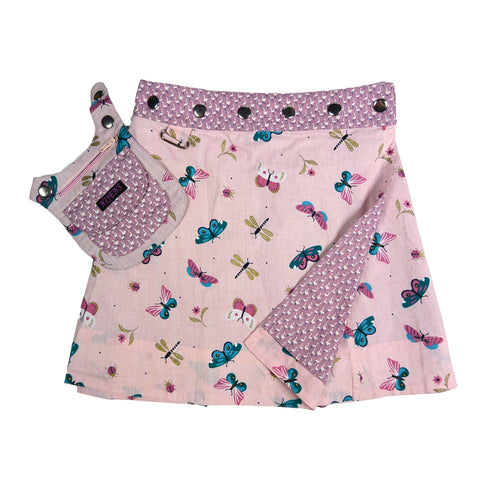 Nijens children's skirt mini skirt cotton skirt pink dragonflies for girls