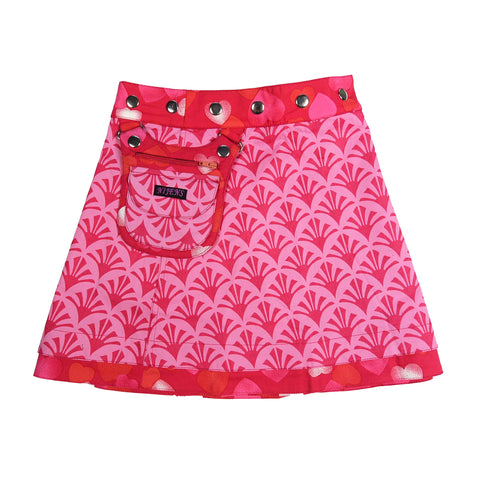 Nijens children's skirt cotton skirt with hearts fuchsia pink
