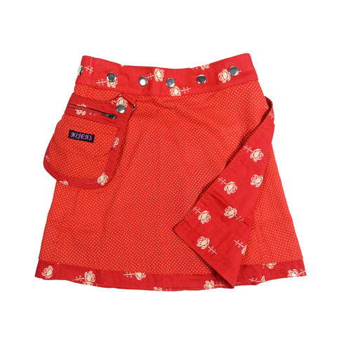 Nijens children's skirt cotton skirt red roses reversible skirt