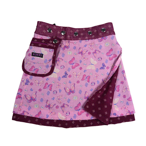 Nijens children's skirt cotton skirt pink butterflies reversible skirt