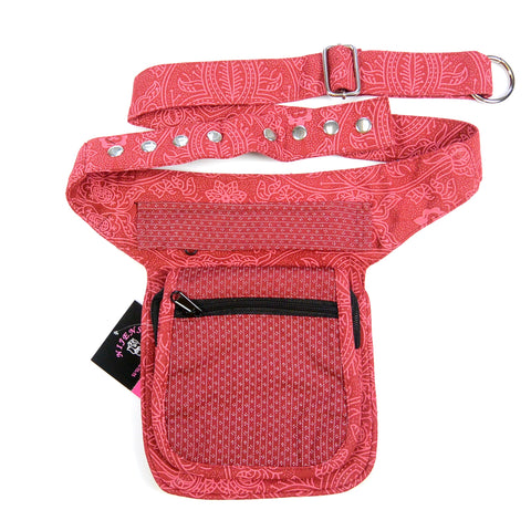 Red canvas bum bag for going out