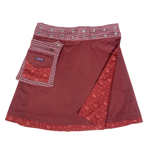 Reversible Skirt Wrap Skirt Nijens Skirt Dark Red Women Cotton India Fashionable Wrap Skirt Photo