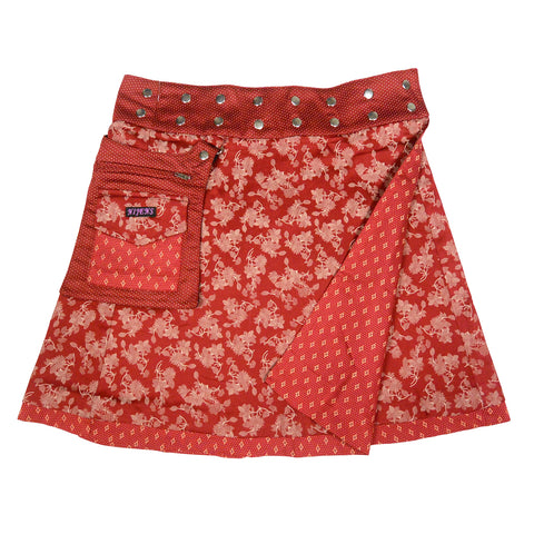 Reversible Skirt Wrap Skirt Nijens Skirt Red Women Cotton India Wrap Skirt Photo