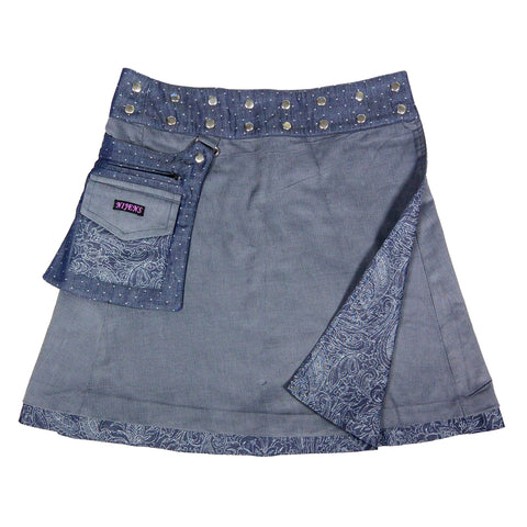 Nijens reversible skirt wrap skirt denim gray-blue