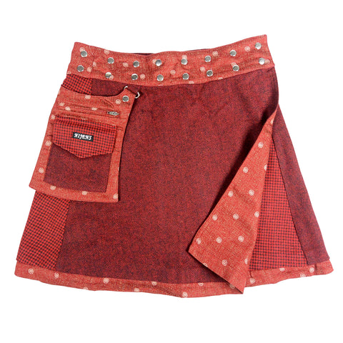 Nijens reversible skirt winter skirt made of wool cotton in dark red