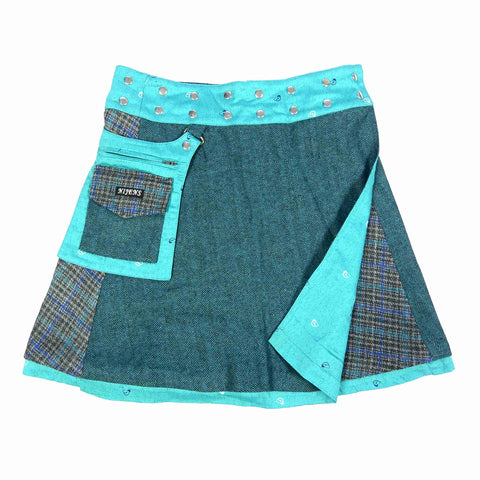 Reversible skirt Nijens Rasmalai Tweed Petrol