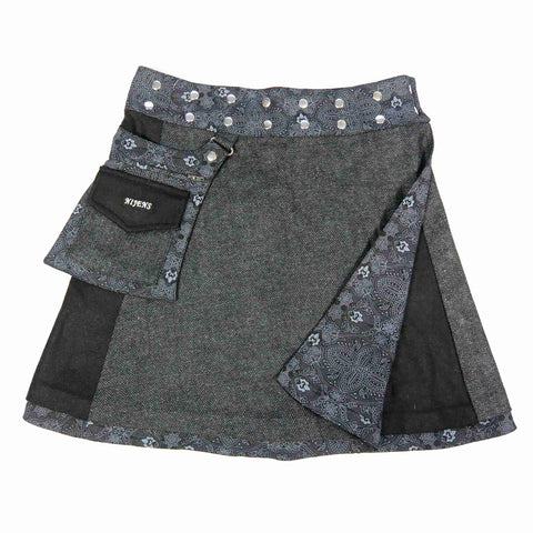 Nijens reversible skirt made of wool cotton in black