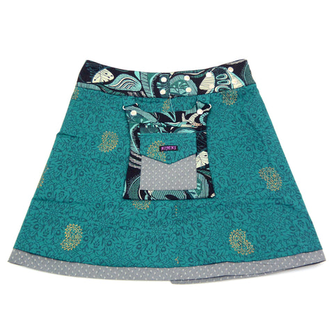 Summer skirt NijensRasmalai - turquoise-gray mix 04
