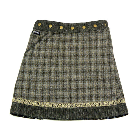 Reversible skirt Nijens Rocksana Tweed Brown