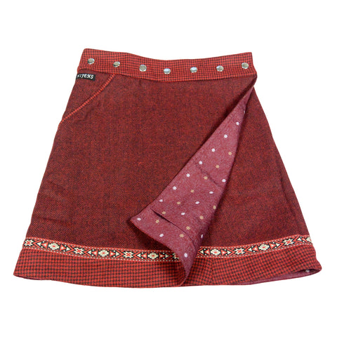 Reversible skirt NijensRocksana Tweed Long Burgundy-218