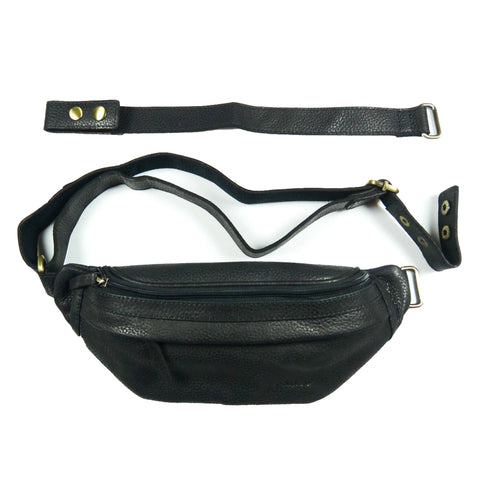 Nijens leather chest bag Bum-Bag waist bag black