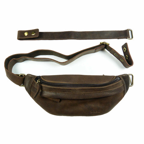 Nijens leather chest bag, bum bag, fanny pack, dark brown