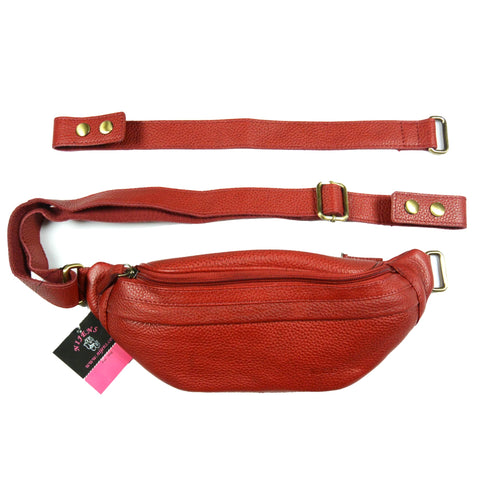Trendy leather breast bag Nijens Pouch leather belt bag in red