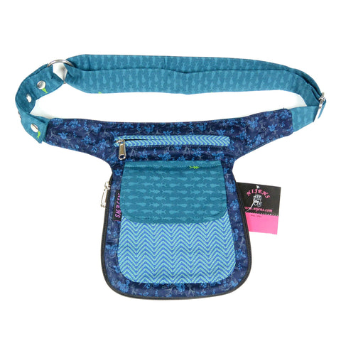Fashionable perfect addition to the art of hand-sewn turquoise cotton belt pouch for reversing Nijens photo