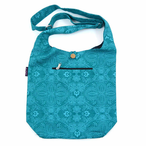 Schultertasche Canvas Small Shopper Aquamarin Om