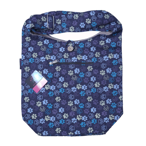 Schultertasche Small Shopper Hundefußdruck Lila-39