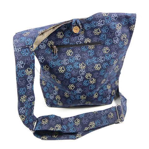 Shoulder bag canvas bag small shopper dog footprint purple